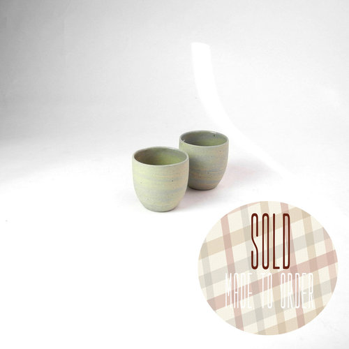 Recycled ristretto cups no ears - Colour swirl set of 2.
