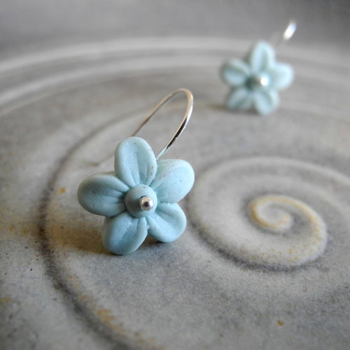 Small blossom in matt pastel aqua.